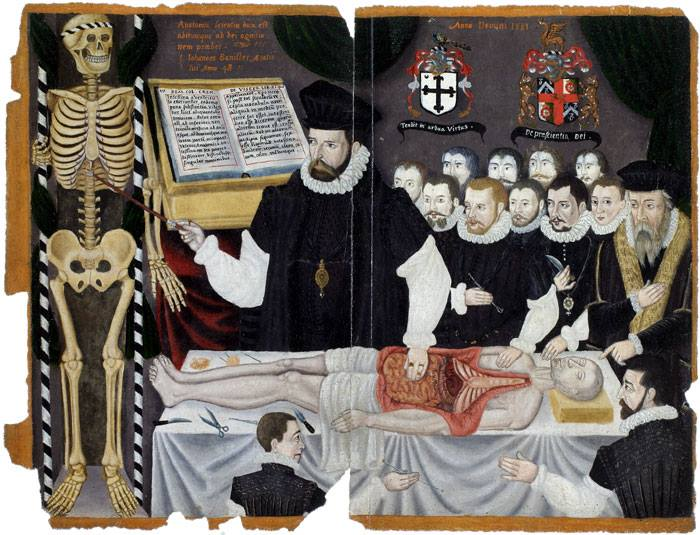 John Bannister, Lecture with Dissection , England, 16th century. Click to enlarge.