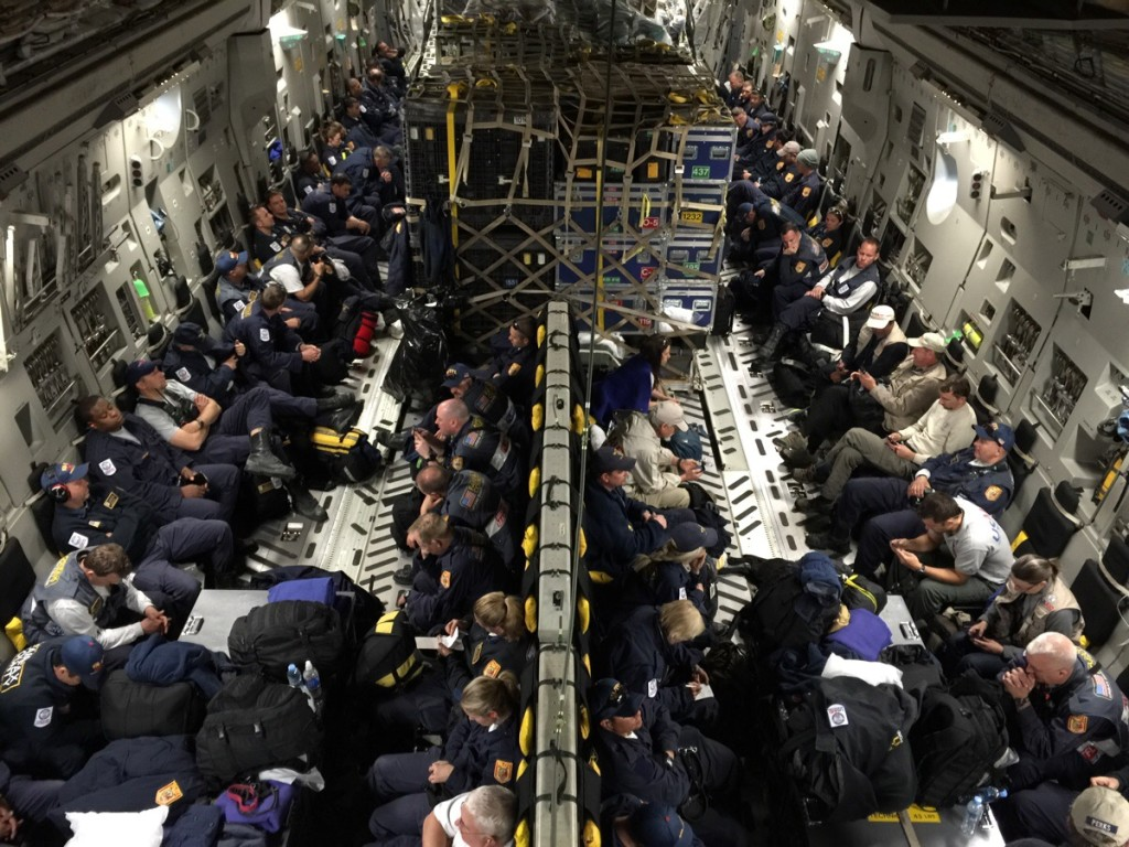 Interior of C-17 on the way to Nepal